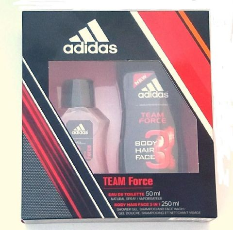 Pack perfume adidas TEAM Force eua de toilette 50ml + gel de baño 3 en 1 de 250ml